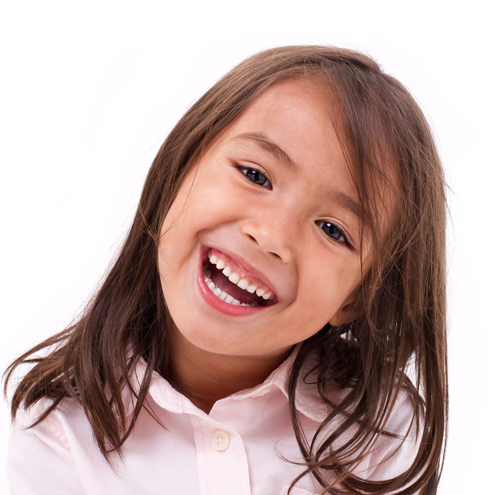 Girls smiling in portrait studio