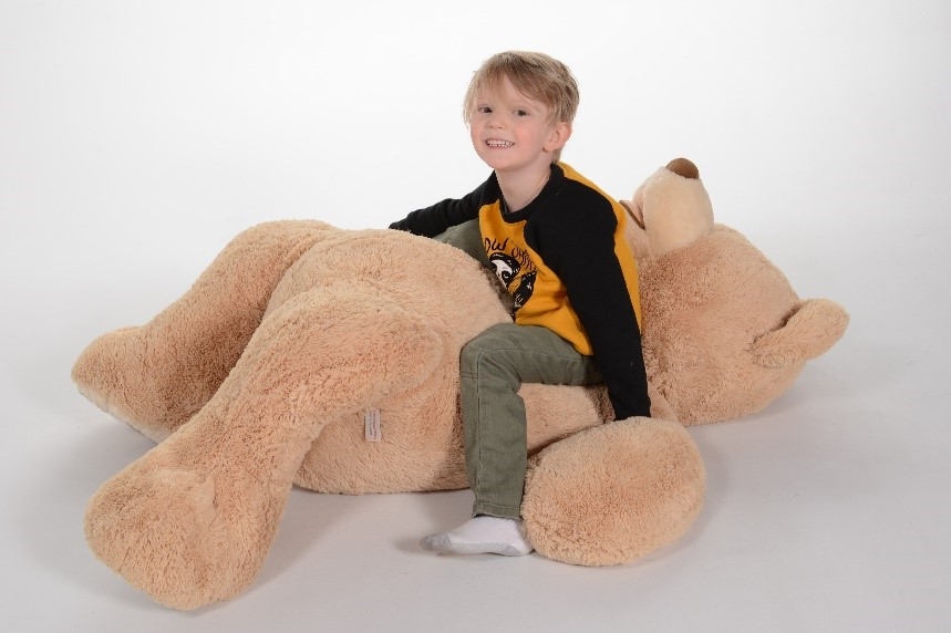 professional photograph of small boy with teddy bear at andrae michaels portrait studios in colorado springs